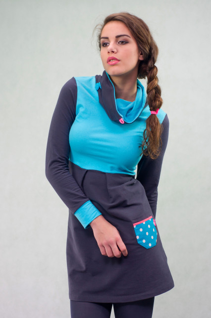 DARK GREY/TURQUISE DRESS - TILDA