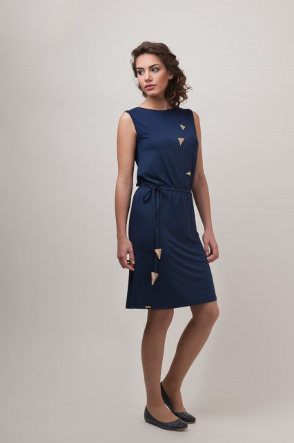 NAVY DRESS- TRIANGLES