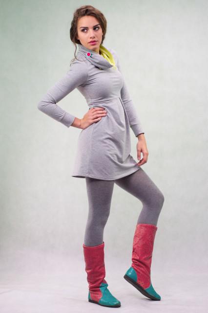 LIGHT GREY HIGH NECK DRESS - LIME