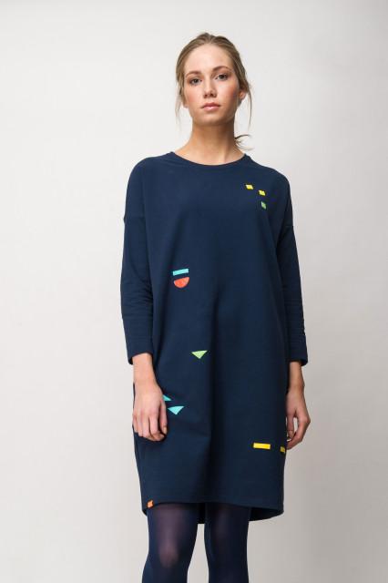 NAVY DRESS - GEOMETRIC