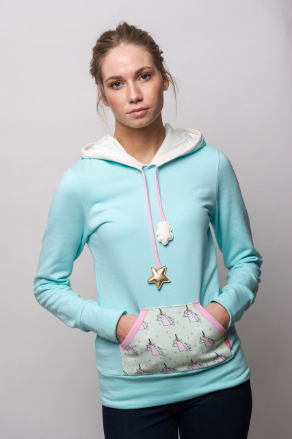 LIGHT BLUE HOODIE - UNICORN