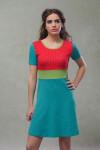 PETROL/RED DRESS - DOTTY
