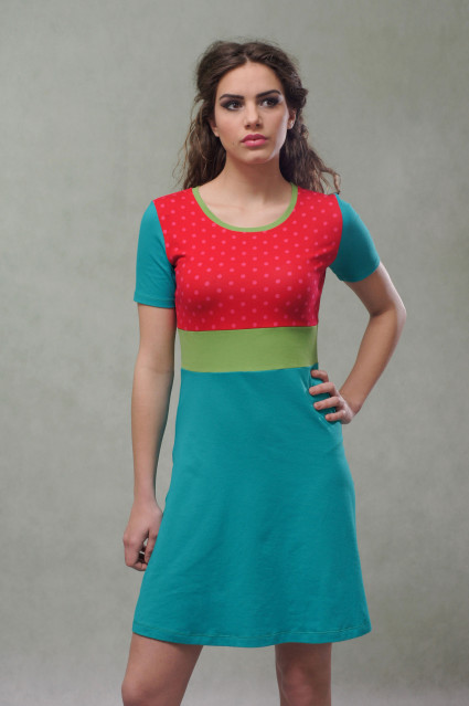 PETROL/RED DRESS - DOTTY