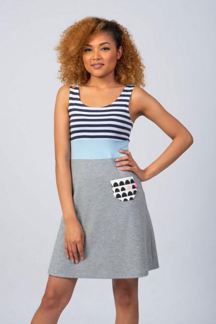GREY/BLUE SUMMER DRESS - SAILOR