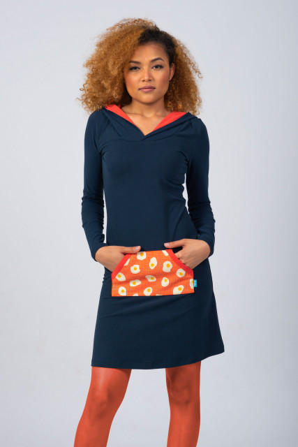 NAVY/CORAL HOODIE DRESS - EGG