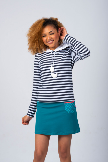 STRIPED HOODIE SHIRT - SEA