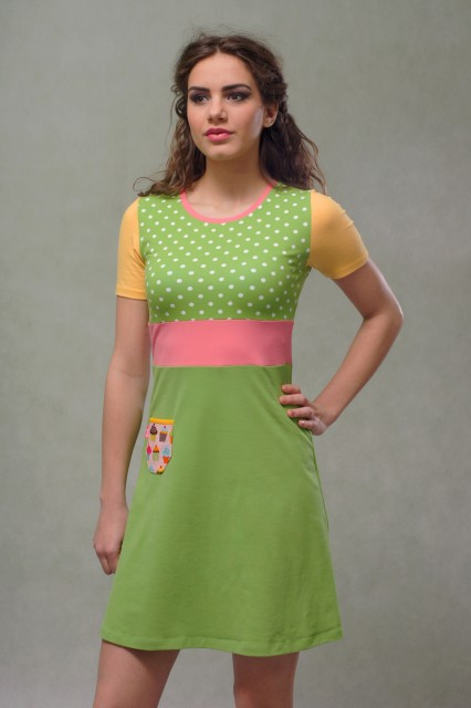 GREEN SHORT SLEEVED DRESS - CUPCAKE