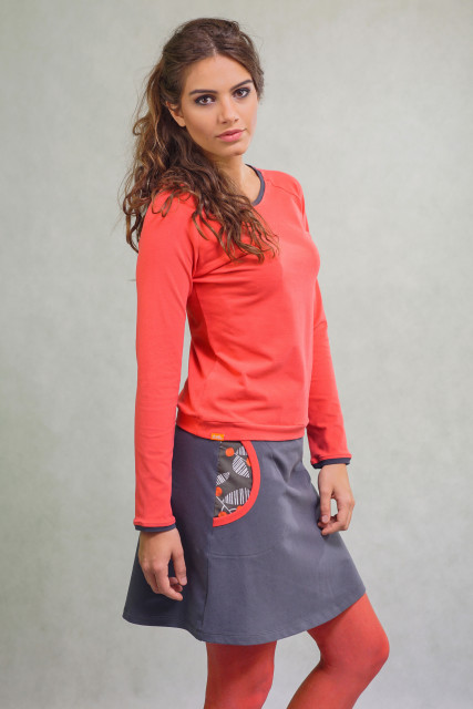 DARK GREY SKIRT - CORAL