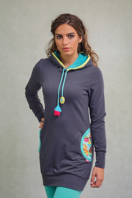 GREY LONG-FIT JUMPER - CUPCAKE