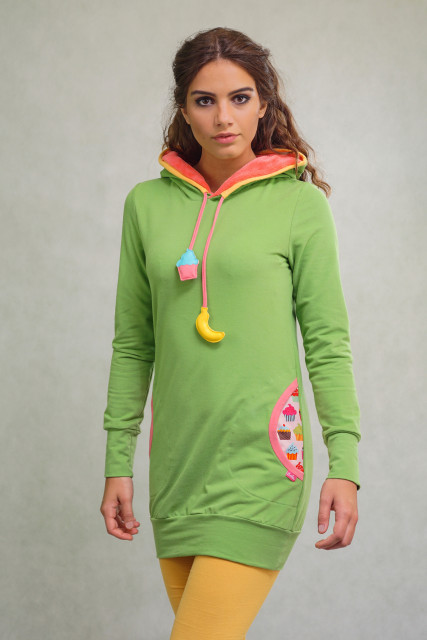 GREEN LONG-FIT JUMPER - BANANA
