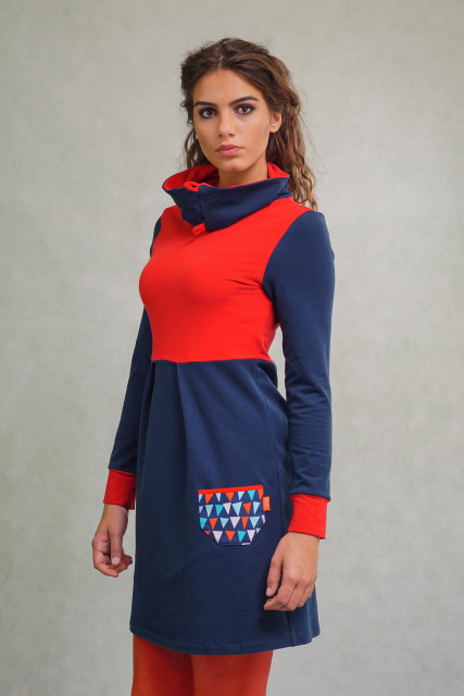 NAVY/RED HIGH NECK DRESS - AHOY