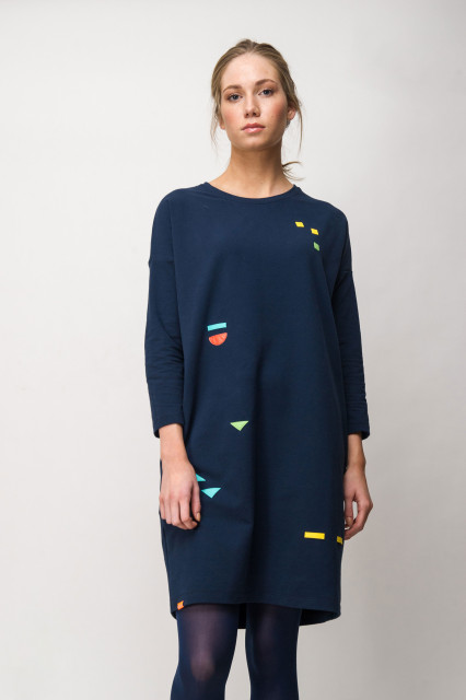 NAVY DRESS - GEOMETRIC