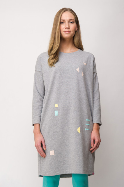 LIGHTGREY DRESS - GEOMETRIC