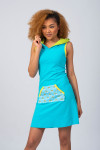 BLUE/GREEN HOODIE DRESS - RAINBOW