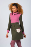 OLIVE/ROSE HIGH NECK DRESS - SKI