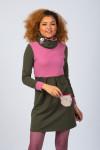 OLIVE/ROSE HIGH NECK DRESS - SKI