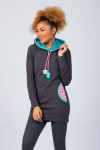 DARK GREY LONGFIT JUMPER - RAINBOW