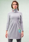 LIGHT GREY HIGH NECK DRESS - LIME