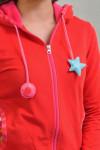 RED ZIP HOODIE - STAR