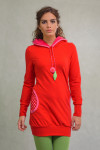 RED/PINK LONG-FIT JUMPER - LEAF