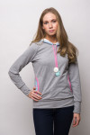 LIGHT GREY HOODIE - FLAMINGO